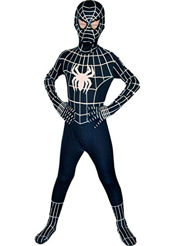 Boys Evil Black Spiderman Costume Kids Superhero Cosplay Lycra Full Bodysuit Zentai