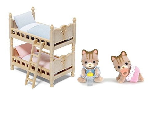 Calico Critters Sandy Cat Twin Babies with Bunk Beds