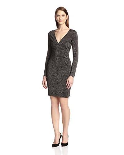 Marc New York Women's Lurex Front Wrap Knit Dress