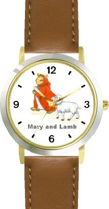Mary Had A Little Lamb No.1 - From Mother Goose By Artist: Sylvia Long - Watchbuddy® Deluxe Two-Tone Theme Watch - Arabic Numbers - Brown Leather Strap-Size-Large ( Men'S Size Or Jumbo Women'S Size ) front-771525