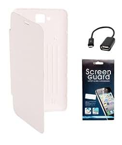 KolorEdge Flipcover + Screen Protector + OTG Cable for karbonn A12 - White