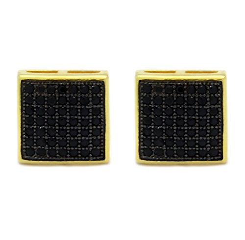 Mens 10Mm Gold Plated With Black Cz Micro Pave Iced Out Hip Hop Square Dome 7 Line Row Stud Earrings Screw Backs
