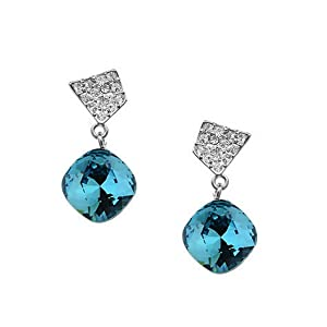 Gorgeous Earrings with Saphire Swarovski Crystal 18ct Gold Plated quality gift for Women and girls