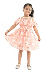 StyleMyKidz Girls' Dress (GDR129_5 Years, Peach, 5 Years)