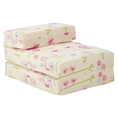 Ready Steady Bed Children's Chair Bed Futon Fold Out Z Bed Owls Design Guest Bed Folding Mattress