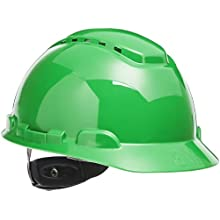 3M Hard Hat H-704V-UV, Uvicator Sensor, Vented, 4-Point Ratchet Suspension, Green