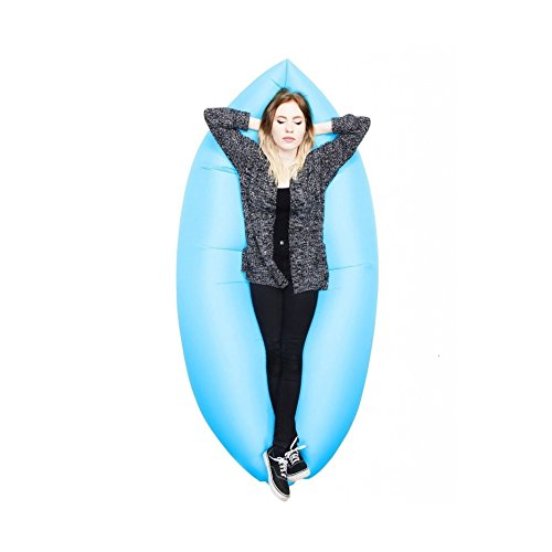 """House of Quirk Outdoor Inflatable Hangout Portable Bag Lounger Nylon Fabric Suitable For Camping, Beach Couch Sofa he Outdoor Must Have for Summer Barbecue, Pool Party, Camping, Hiking, Picnic, Tailgating, Sports, Outside Fun, Travel, Watching Fireworks Outdoor Air Sleep Sofa Couch Portable Furniture Sleeping Hangout Lounger Imitate Nylon External Internal PVC for Summer Camping Beach The Original Inflatable Lounger. Inflates in seconds, lightweight, packable, carry bag included. (BLUE) """