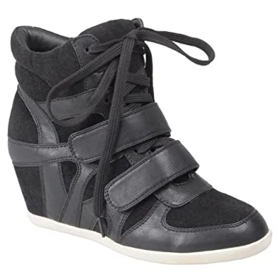 Women's Black High Top Fashion Sneakers Wedge High Top Sneakers