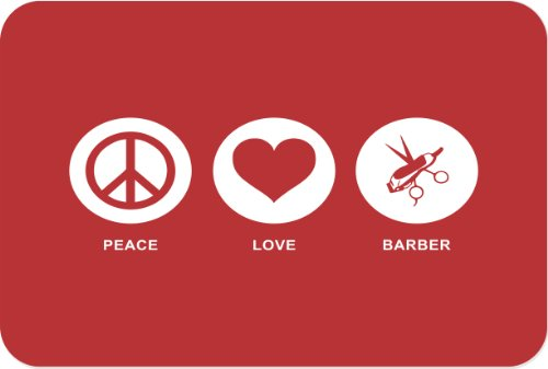 Rikki Knight Peace Love Hair Dresser Glass Cutting Board, Large, Red front-614950