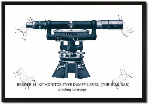 Framed Art Poster 20x30 Berger 14 1/2 Monitor Type Dumpy Level (Tubular Bar)