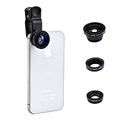 Universal Clip Mobile Cell Phone Camera Lens Kit for iPhone 6s plus/6s/6 plus/6, Samsung Galaxy S6/S5 (180° Fish Eye Lens + 0.67X Wide Angle Lens & Macro Lens)