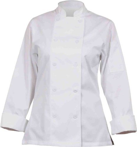 Chef Works CWLJ-WHT Women's Executive Chef Coat, White, Size L