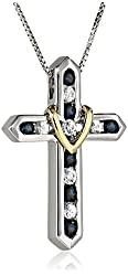 "Sterling Silver, 14k Yellow Gold, and Blue and White Sapphire ""Cross Your Heart"" Pendant Necklace, 18"""