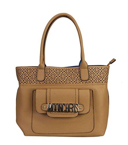 [MOONCHRIS Signature Logo PU Leather Stencil Laser Cut Floral Design Front Magnet Pocket Tote Womens Purse Handbag TT-2226] (Sale On Purses)
