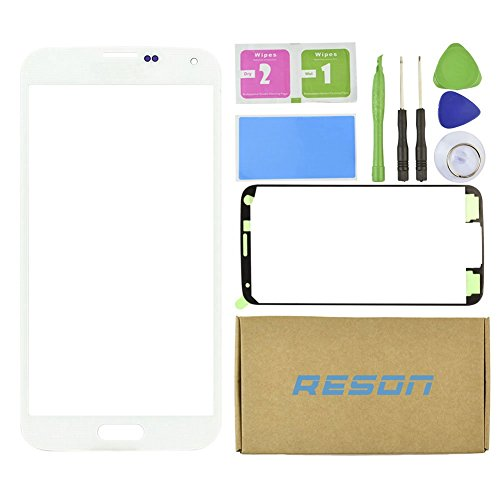 Galaxy S5 Glass Replacment,Reson® Front Screen Lens Glass Replacement Kit for Samsung Galaxy S5 White SV G900 G900A G900P G900R4 G900T G900V+Tools Kit+Adhesive Sticker (S5 Repair Kit compare prices)
