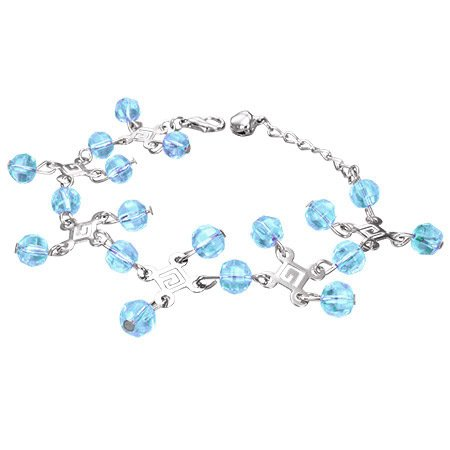 The Stainless Steel Jewellery Shop - Fashion Greek Key Crystal Glass Beads Ball Charm Bracelet/Anklet