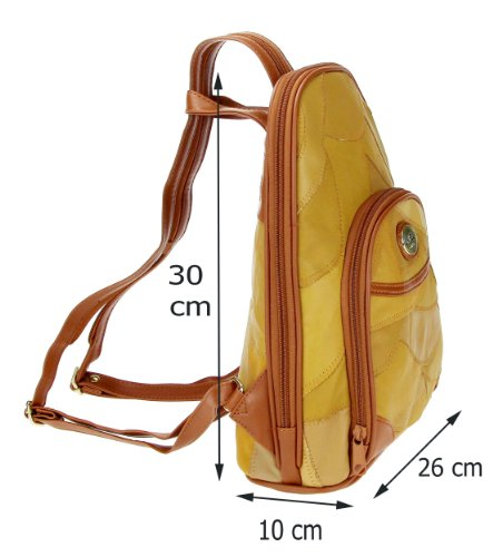 Marc Chantal & Co. Leder Patchleder RuCkSaCk BackPack Body City Bag Schulter Tasche Organizer Tablet 7-10'' Nexus Samsung Ipad mini (Camel Patchleder 1411)