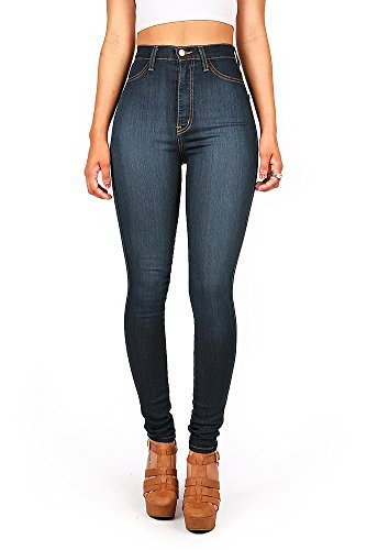 Vibrant-Womens-Juniors-Classic-High-Waist-Denim-Skinny-Jeans-5-Dark-Denim