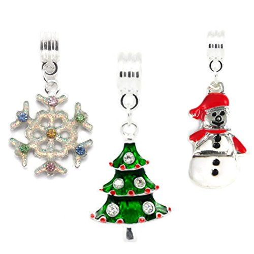 Christmas Set of 3 Festive Charms Snowflake Christmas