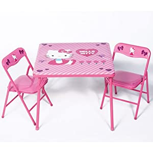 Kids Table and Chairs Activity Home Furniture Set,The Popular Hello Kitty Childrens Pink Table and Chair Sets,Make a Perfect Addition To Any Childs,Bedroom,Toy Play Room,or Family Home.Your Child Can Draw,Paint or Pretend Play for Hours on These Sturdy Po