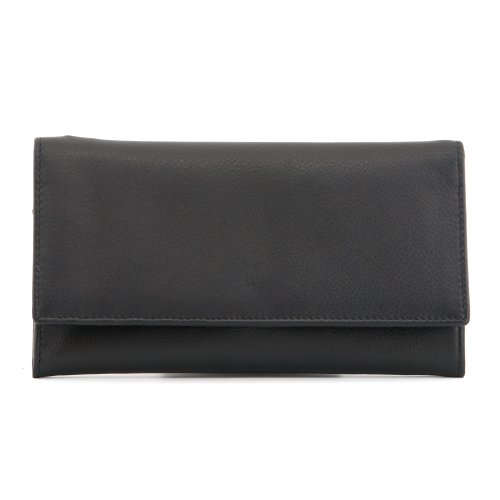 1642 Soft Nappa Leather - Large Flap Over Purse with Inside Zip, Credit Card Slots, Note Sections, (1030 17)