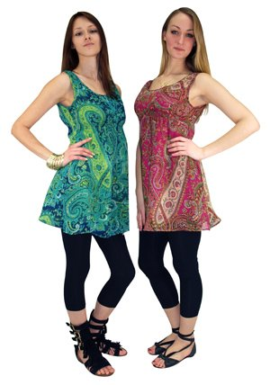 New Womens Tunic Kaftan Top Ladies Ethnic Print - Size 10 12 14 16 18 20 Green And Pink