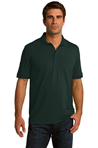 Sportoli Men's Cotton Blend Solid Everyday Uniform Short Sleeve Polo Shirt Top - Dark Green (Small)