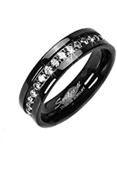 Solid Titanium Black IP ION White CZ Eternity Wedding Band Mens and Womens Ring