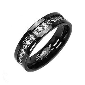 Amazon Solid Titanium Black IP ION White CZ Eternity Wedding Band Mens And Womens Ring