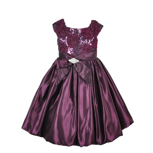 Plum Glossy Ribbon And Bow Sequins Flower Girl Dress-4  Best Offer