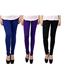 Snoogg Womens Ethnic Chic Inspired Churidar Leggings In Blue, Purple And Blue