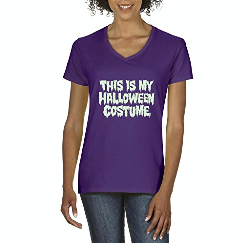 [Artix This is My Halloween Costume Fashion Party People Best Friends Gift Couples Gift Women V-Neck T-Shirt Tee Clothes XXX-Large] (Cave People Costume)