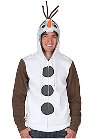 Olaf Face Frozen Hoodie Sweatshirt Costume Let It Go Disney Zip Up