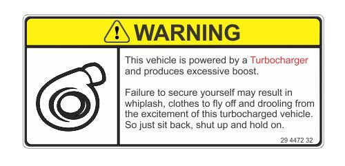 Warning This Vehicle Is Turbocharged Vinyl Sticker Decal (Turbocharged Decal compare prices)