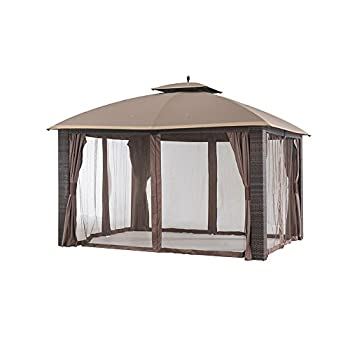 Sunjoy 12 x 10 Sonoma Wicker Gazebo, Large, Brown/Gold Trim