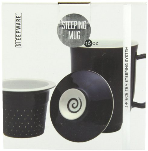 The Tea Spot Steeping Mug, 3-Piece Handcrafted Porcelain Tea Mug with Infuser & Lid, 16-Ounce, color: Black