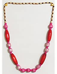 Divine Femininity - Dark Pink And Dark Red Wooden Bead Necklace - Wooden Beads