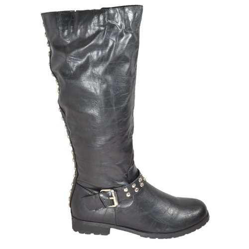 buy combat biker knee high zip studded