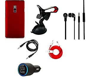 NIROSHA Cover Car Charger Headphone / Hands Free Mobile Holder Combo for OnePlus 2
