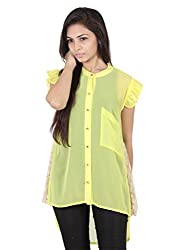 Ethnic For You Lamon Yellow Georgette Top