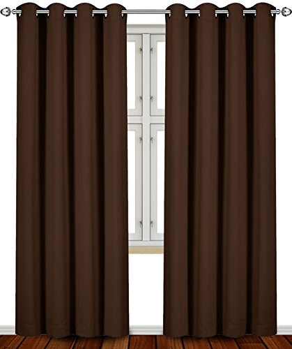 Blackout, Room Darkening Curtains Window Panel Drapes - (Chocolate Color) 2 Panel Set, 52 inch wide by 84 inch long each panel- by Utopia Bedding (Chocolate Brown Curtains compare prices)