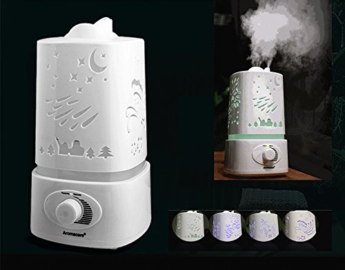 Glovion 1.5L 1500Ml Double Nozzle Ultrosonic Humidifier Led Night Light With Carve Design Aromatherapy Aroma Diffuser Mist Maker