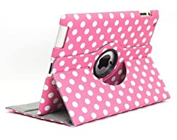 KolorFish iLittle Polka Dots Pattern Designer Funky Leather Rotation Flip Stand Book Type iPad Case Cover for Apple iPad 2, iPad 3, iPad 4