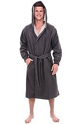 Del Rossa Men\'s Sweatshirt Style Hooded Cotton Bathrobe Robe, Small Medium Dark Heather Gray(A0311ECLMD)