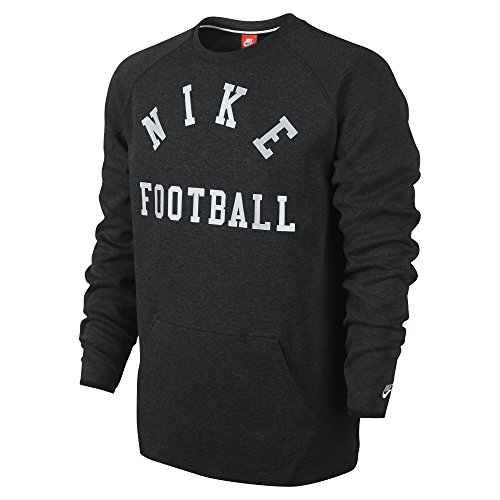 Nike Men's Football Tech Fleece Crew Sweatshirt, Black Heather (Medium)