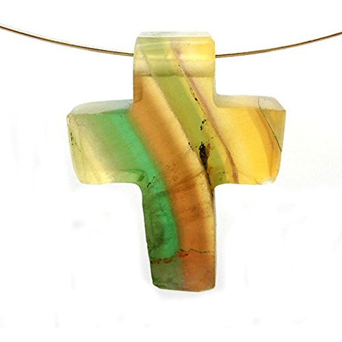 1 (ONE) Cross Pendant Rainbow Fluorite Cross Pendant Charm - Top Side to Side Drilled Bead with Rock Paradise Exclusive Certificate of Authenticity (AM2B15-01) (Rainbow Light Precious Gems compare prices)