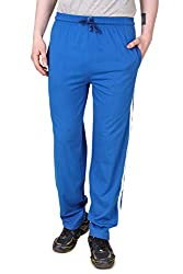Aventura Outfitters Single Jersey Trackpant Royal Blue With Two White Stripes - L (AOSJTP501-L)