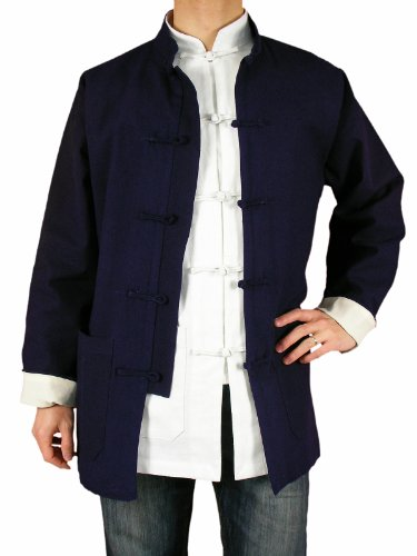Blue Premium Linen Kung Fu Martial Arts Jacket Shirt L