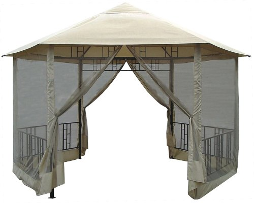 DC America GO31805BL-BB Hexagon Gazebo with Insect Screen