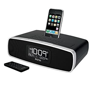 ihome dual alarm stereo clock radio for iphone and ipod with am fm presets. Black Bedroom Furniture Sets. Home Design Ideas